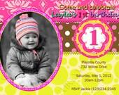 First Birthday Printable Photo Invitation Card