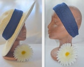 End of Summer Sale - Stretchy Headband/ Hatband in Blue Textured Fabric