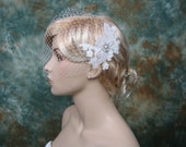 Sale - Ivory blusher birdcage veil with alencon lace - was 79.99