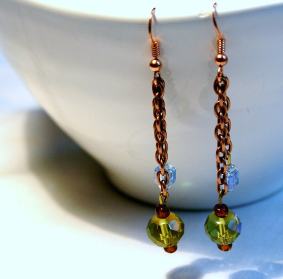 Dangling Beaded Earrings with copper metal on Chains