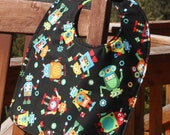 NEWBORN Bib: Robots on Black, Personalization Available