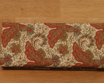 Magic Wallet - Billfold Red & Gold Paisley Flowers on Cream