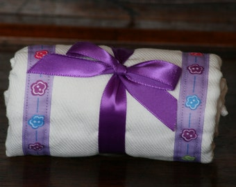 Burp Cloth / Changing Pad: My Pretty Burpy Flower Buttons on Purple, Personalization Available