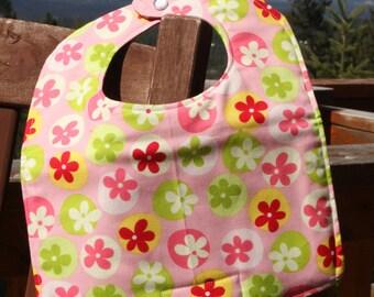 Newborn - Infant Girl Bib: Tossed Flowers on Pink