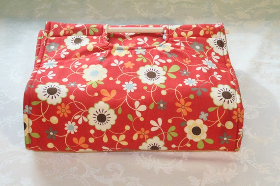 Insulated Casserole Carrier - Flowers on Red with Polka Dot Interior, Personalization Available