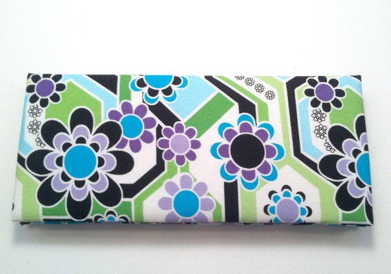 Magic Wallet - Billfold Purple, Blue and Turquoise on Black