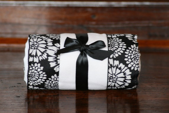 BURP CLOTH / Changing Pad: My Pretty Burpy White Flowers on Black, Personalization Available
