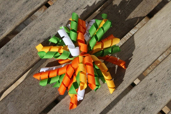 Hair Bow Clip - Korker / Corker Hair Clip with Orange, Yellow, Lime Green & White