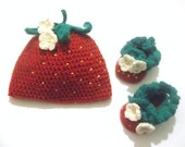 CROCHET PATTERNS  Strawberry Baby Set  Hat and Baby Booties (Pdf file)