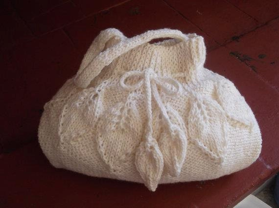 Knitting Patterns Bags : Items similar to KNITTING PATTERN BAG with leaves (Pdf file) on Etsy