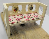 Miniature floral wood bench in white and pink. Lovely toy from 1920s. House doll size