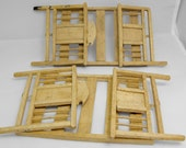 Pair of toy wooden folding beds about 100 years old. Amazing vintage handmade toy