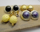 Vintage clip on earrings lot. Super retro. Mixed colors. Set of 4 pairs