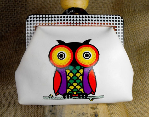 Retro cosmetic pouch with colorfull owl pattern