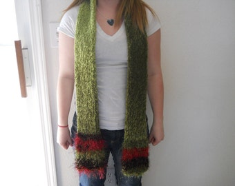 Dark Green Long Knitted Tube Scarf