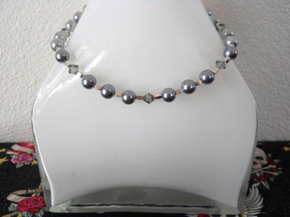 Silver Pearl With Swarovski Smoky Topaz Crystal Choker Necklace