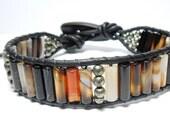 Mardi Gras - Men's Wrap Bracelet, Banded Amber Agate, Pyrite, Greek Leather