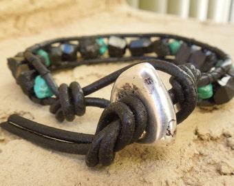 Edgy Black Men's Wrap bracelet