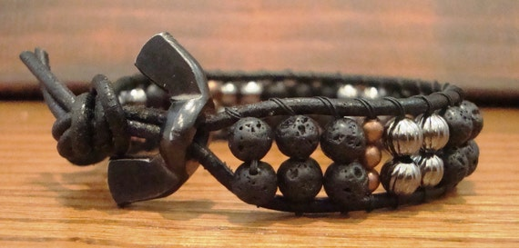 Lava - Men's Wrap bracelet natural lava beads, corrugated gunmetal, copper round beads and finished off with