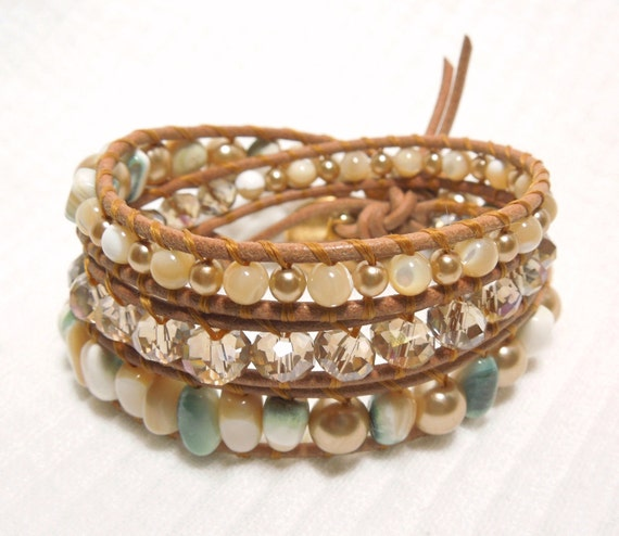 Bold Bauble -- Multi colored Large Mother of Pearl Nuggets, Cyrstal Topaz and Pearl beads with Mother of pearl rounds