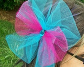 Blue and Pink Glitter Tulle Hair Bow Clip - Girls, Women Hair Accessory