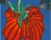 Ceramic tile, Hummingbird, Hibiscus flower, hot plate, wall decor, kitchen backsplash, installation, hand painted