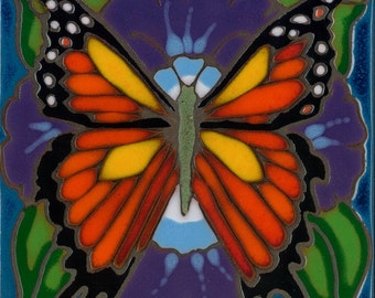 Ceramic tile Monarch Butterfly, hot plate, wall decor, kitchen backsplash, installation, hand painted, custom mural
