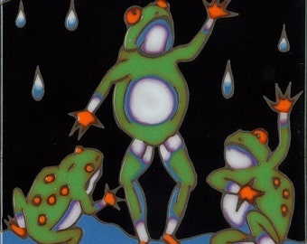 Ceramic Tile, Frogs, hot plate, coaster, wall decor, kitchen backsplash, installation, mosaic, hand painted