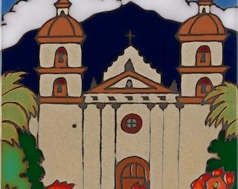 Handpainted ceramic tile Santa Barbara Mission made in usa