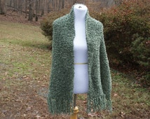 Moss Green Boucle Hand Knit Prayer Shawl Wrap with Fringe