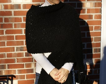 Handmade Wrap Black Boucle Fringed Shawl Hand Knit