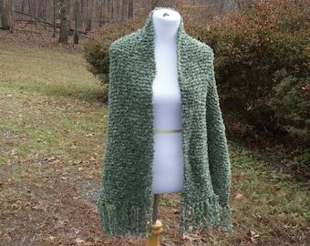 Moss Green Boucle Hand Knit Prayer Shawl Wrap with Fringe