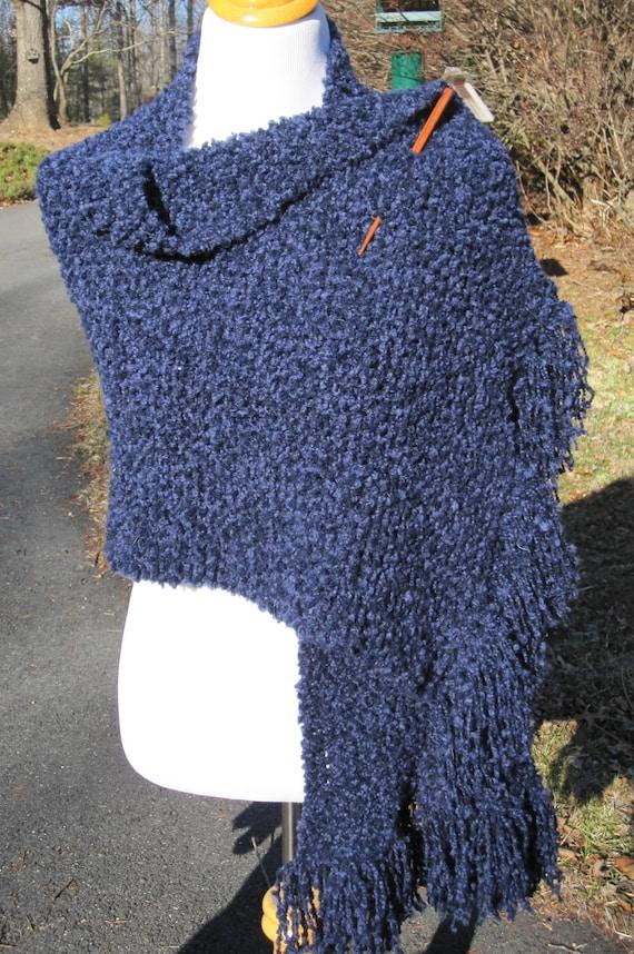 Blue Knit Shawl with Fringe