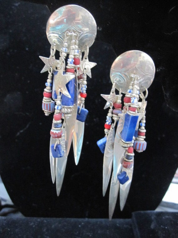 Sterling Silver and Lapis Pierced Earrings by Tabra