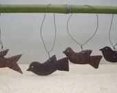 RESERVED for SUSANSKAUDIS  Vintage Metal Handcrafted Mid Century Bird Set