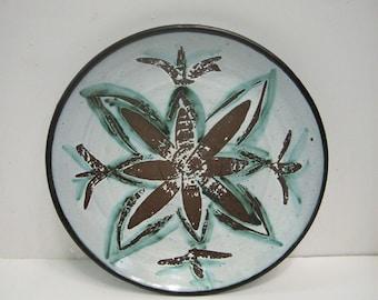 Mid Century Art Pottery Plate Platter Signed