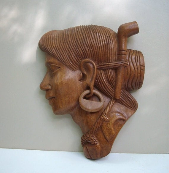 Vintage Native American Tribal Carved Wooden Head