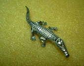 Alligator lapel pin, sterling silver.