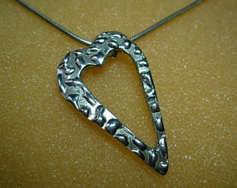 Heart  Pendant, sterling silver, with chain.