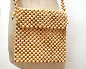 VINTAGE 1960s wood beads purse/handbag super cool...
