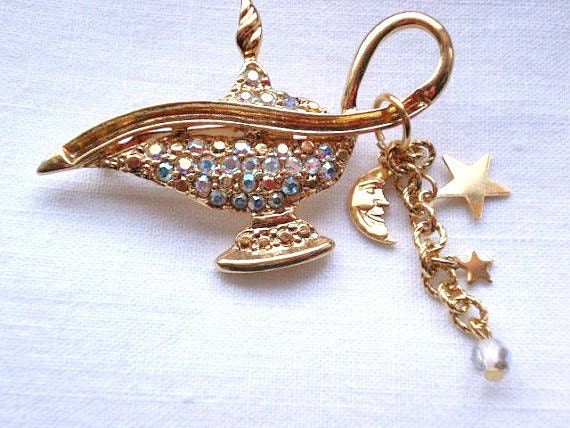 KIRKS FOLLY genie lamp gold tone brooch/pin with AB rhinestones