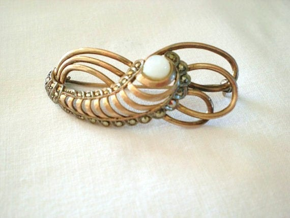 1930s FRENCH VERMEIL sterling silver  plated with gold with marcasite and milk glass stone