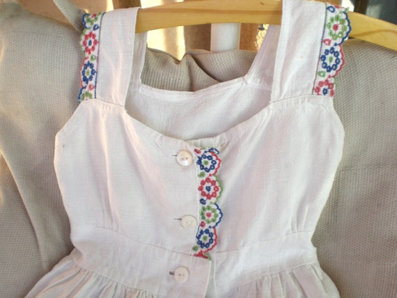 ORIG. VINTAGE FRENCH children/toddler white linen handmade shabby chic dress, .gorgeous...