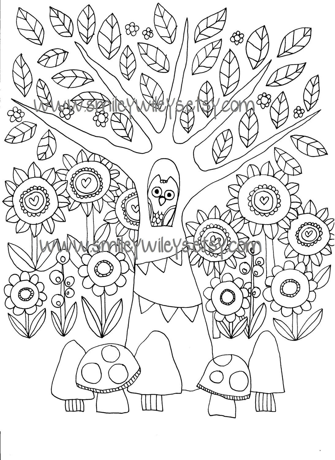 Happy Garden Printable Colouring