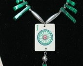 Beautiful one of a kind handcrafted  Mah Jongg necklace designed with malachite and sterling silver plate beads