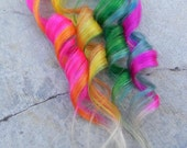 """Tropical Rainbow / Hot Pink, Orange, Yellow, Green, Blue and Neon Purple  / 16"""" Long Clip In Human Hair Extension"""