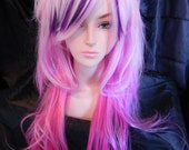 Be My Valentine / Pink and Purple / Long Straight Layered Wig
