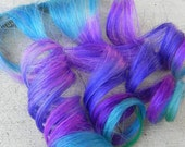 "Octopus Tentacles  / Purples, Teal and Blue  / 16"" Long Clip In Human Hair Extension"