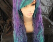 Sea Anemone / Purple, Blue, Sea Green and Teal / Extra Long Wavy Layered Wig