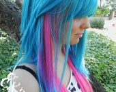 Trickster / Teal, Purple, Pink and Blue / Long Straight Layered Wig